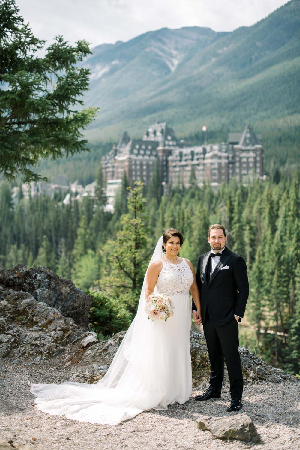 A Regal Fairytale Wedding in Banff, Alberta - Bride & Groom