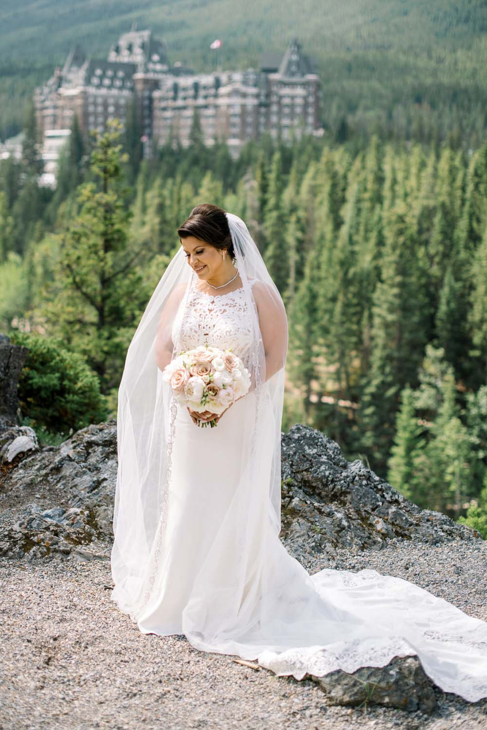 A Regal Fairytale Wedding in Banff, Alberta - Bride