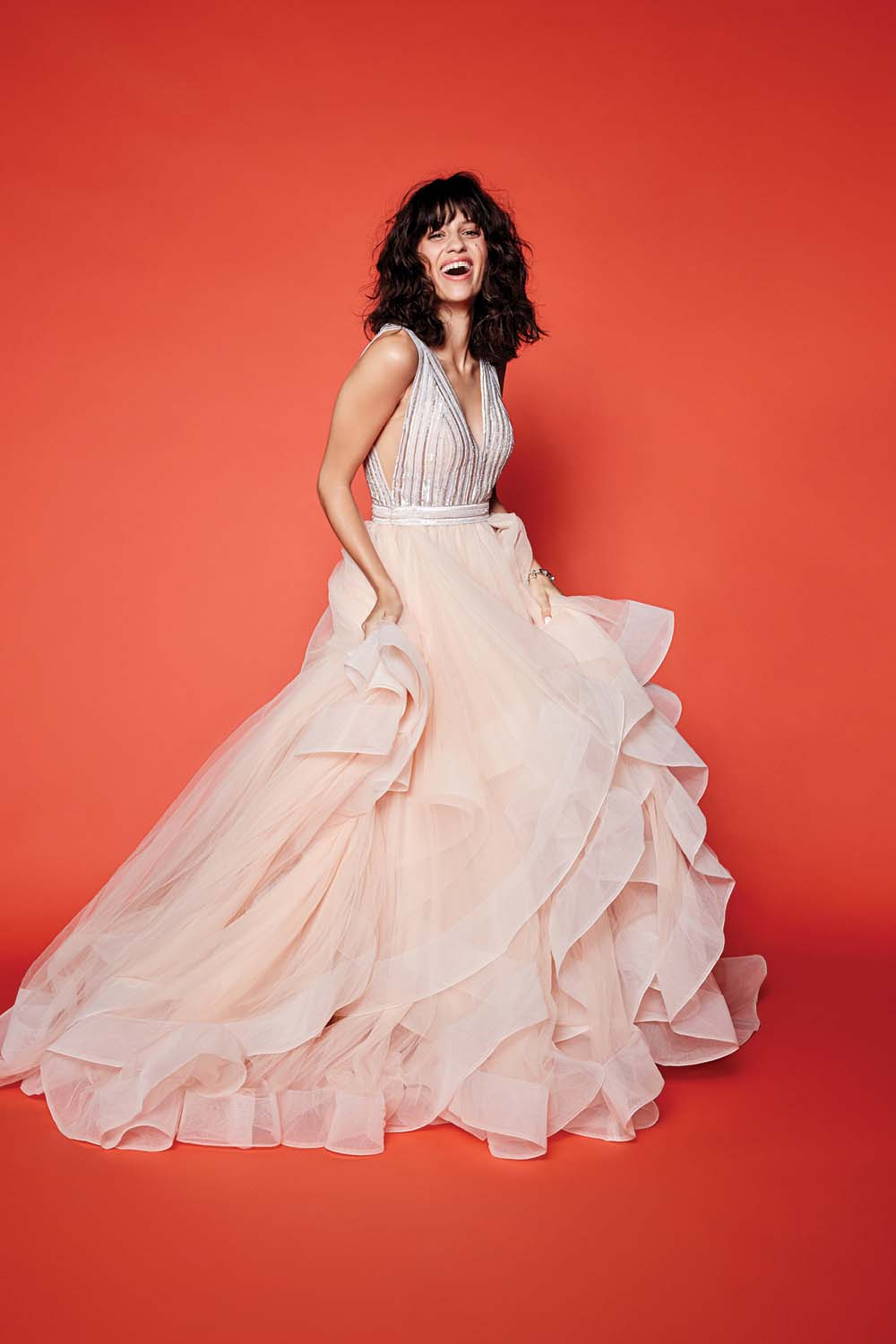 The Season's Hottest Bridal Gown Styles Look Amazing Against Rainbow Backdrops - persy bridal gown