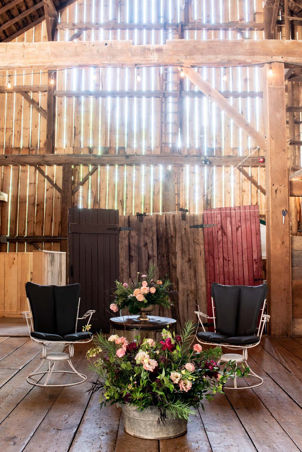 A Quirky Non-Traditional Wedding in Kitchener, Ontario - Chairs and floral