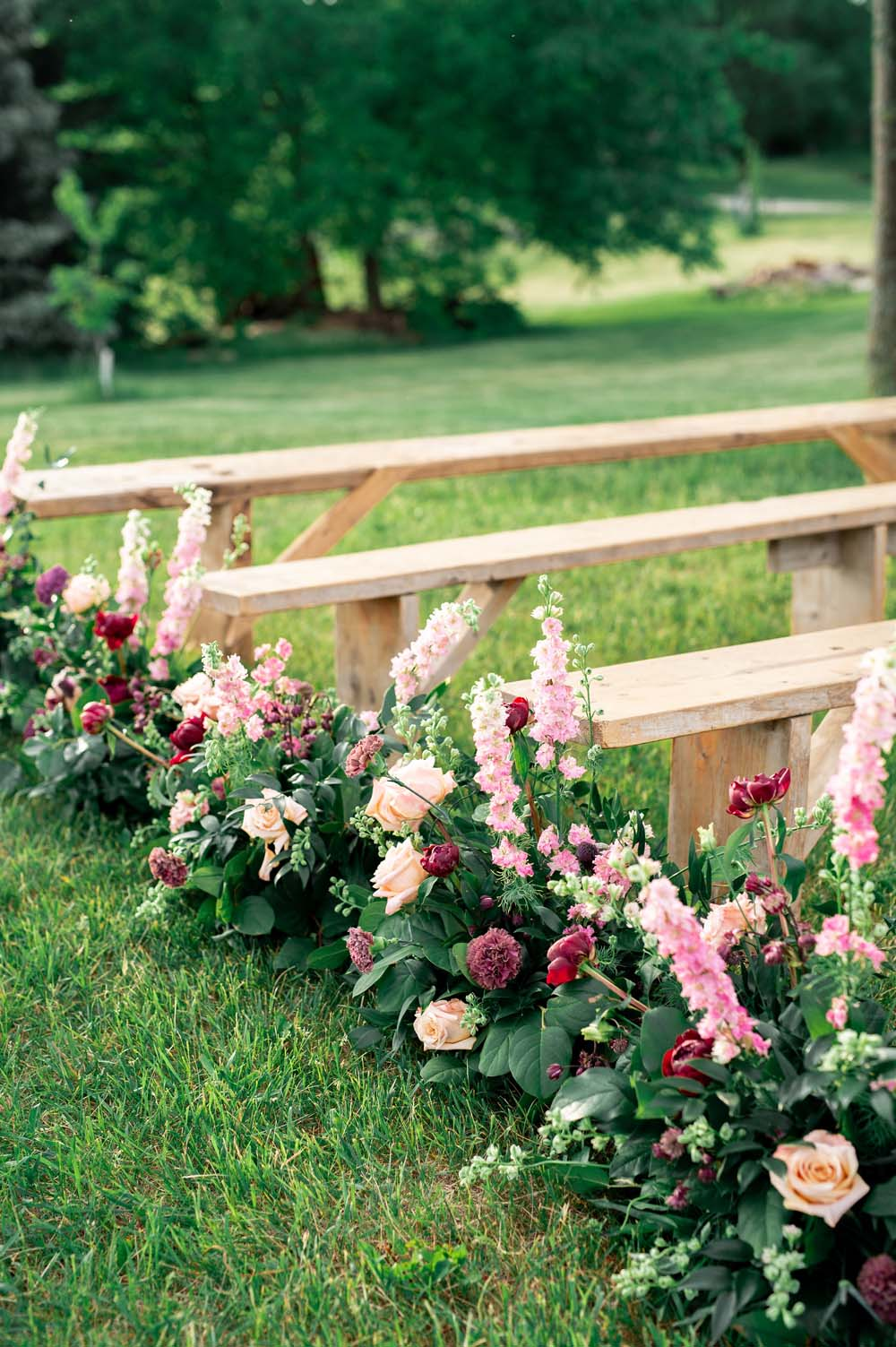 A Quirky Non-Traditional Wedding in Kitchener, Ontario - Floral benches