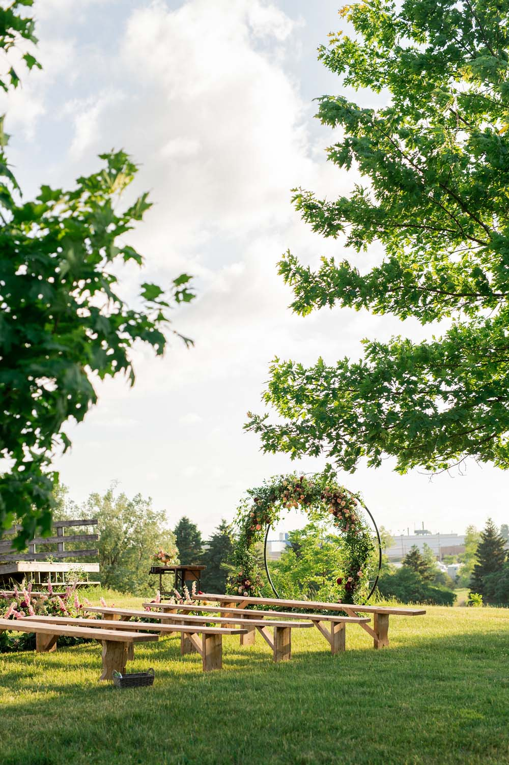 A Quirky Non-Traditional Wedding in Kitchener, Ontario - Benches and Arbor