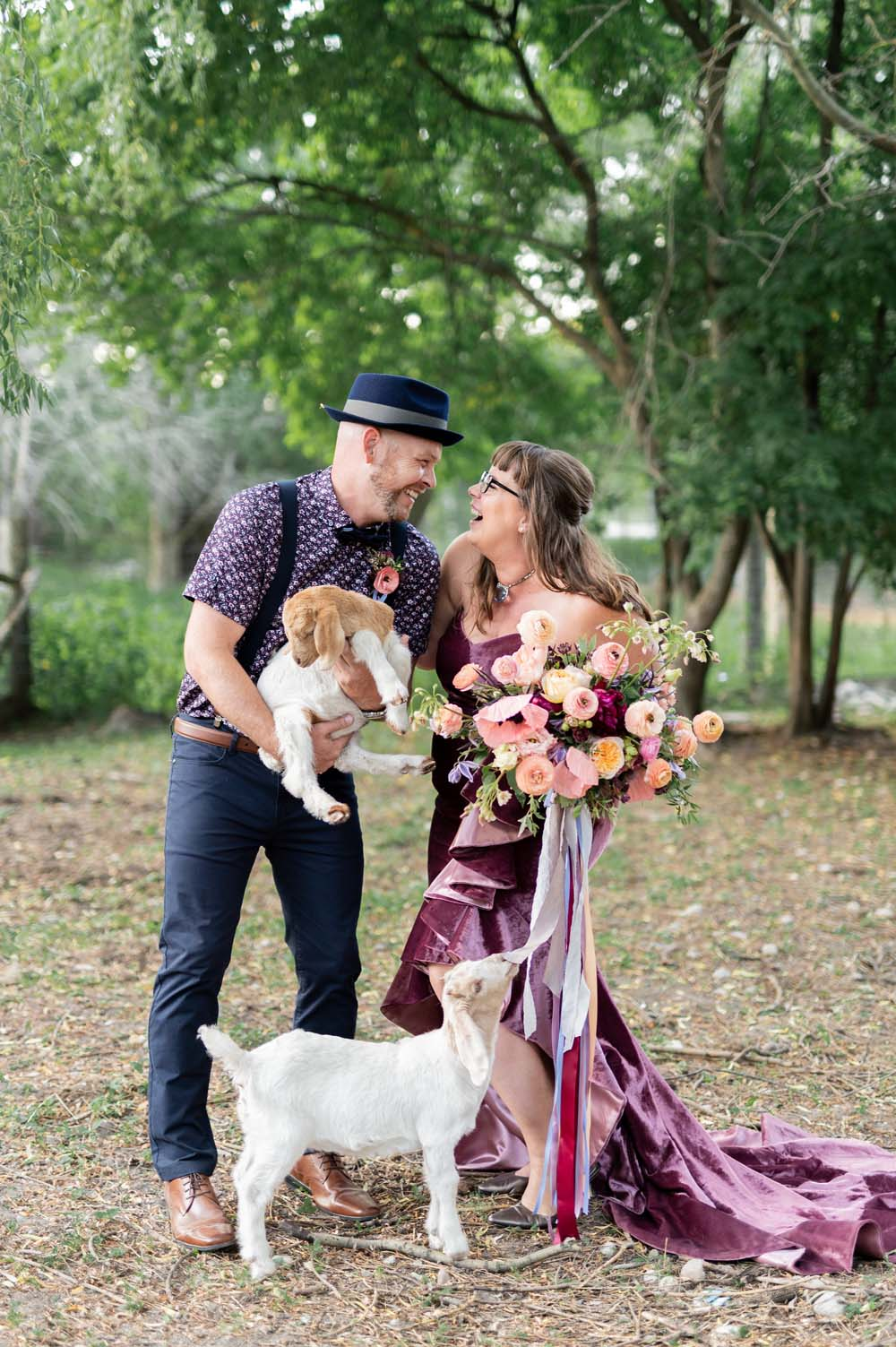 A Quirky Non-Traditional Wedding in Kitchener, Ontario - Couple and goats