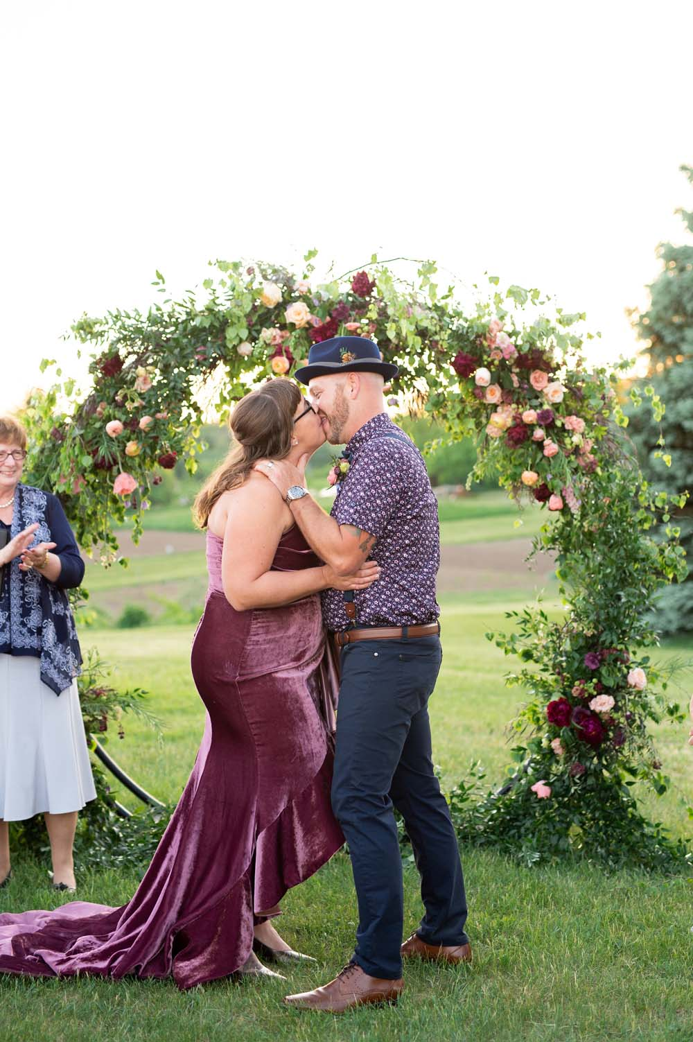 A Quirky Non-Traditional Wedding in Kitchener, Ontario - Couple kiss
