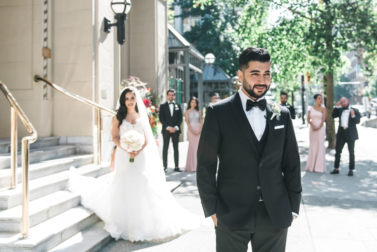 A Vintage Persian Wedding in Vancouver - Couple's first-look