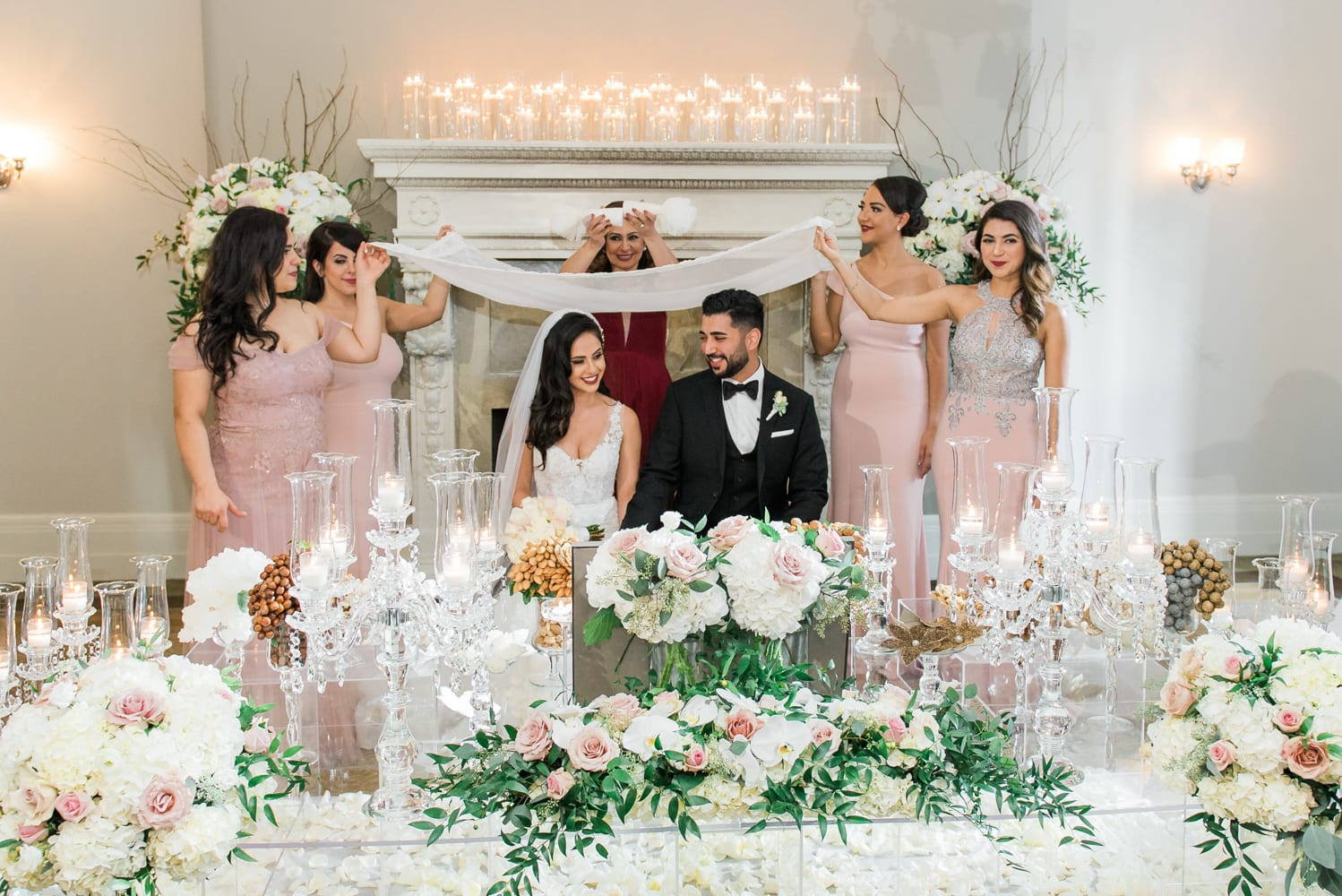 A Vintage Persian Wedding in Vancouver - Couple and sofreh