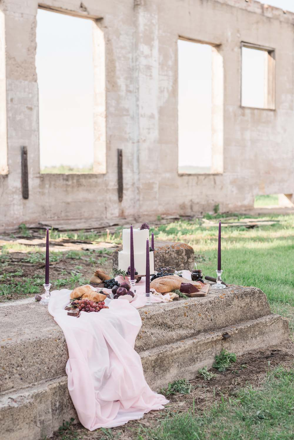 A Romantic Themed Shoot Inspired by Ruins - candles and food