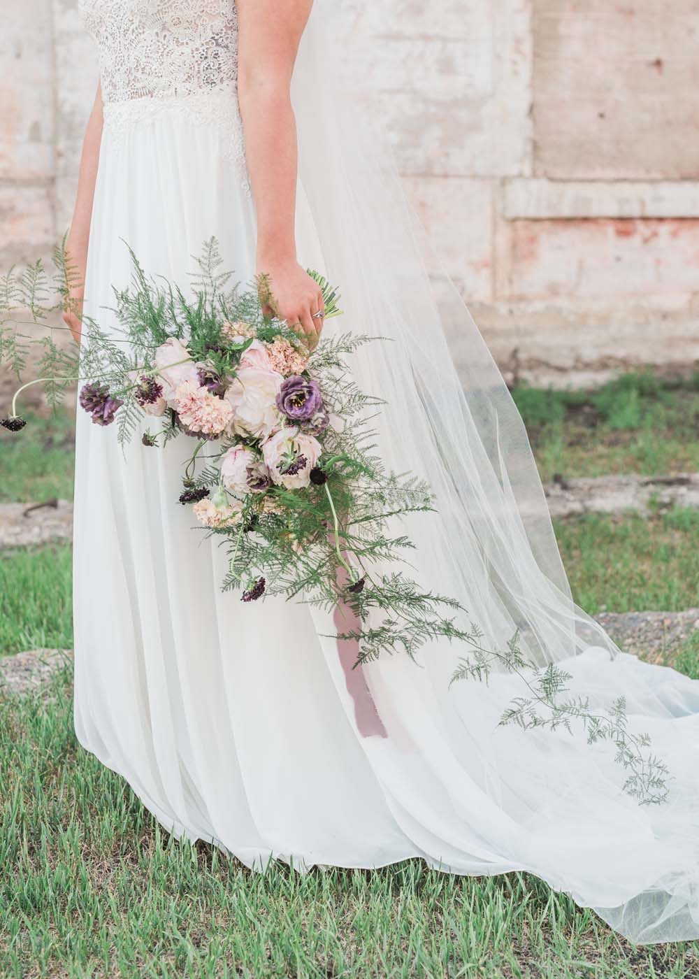 A Romantic Themed Shoot Inspired by Ruins - Dress and flowers
