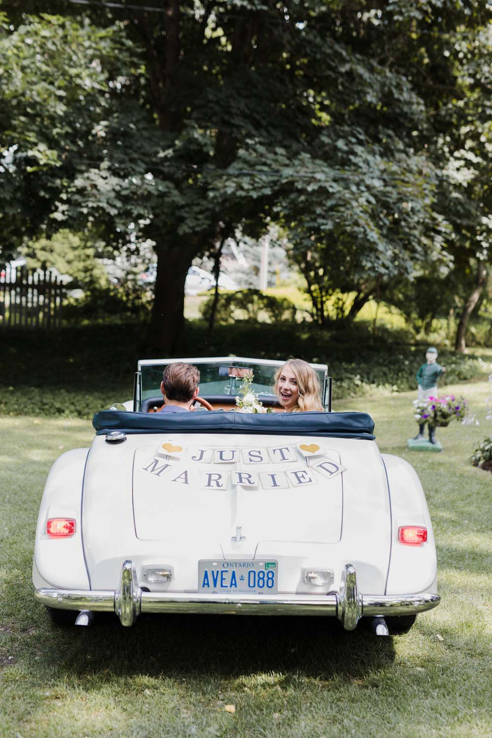 A Whimsical Wedding at Windmill Point, Ontario - car