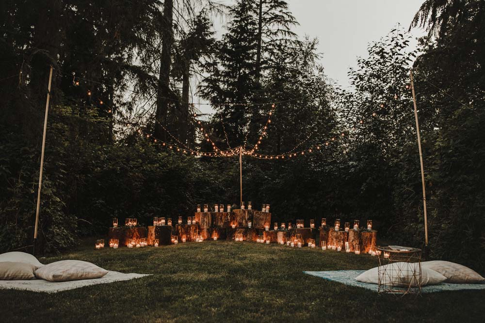 A Romantic and Ethereal Celebration in Fort Langley, BC - lights