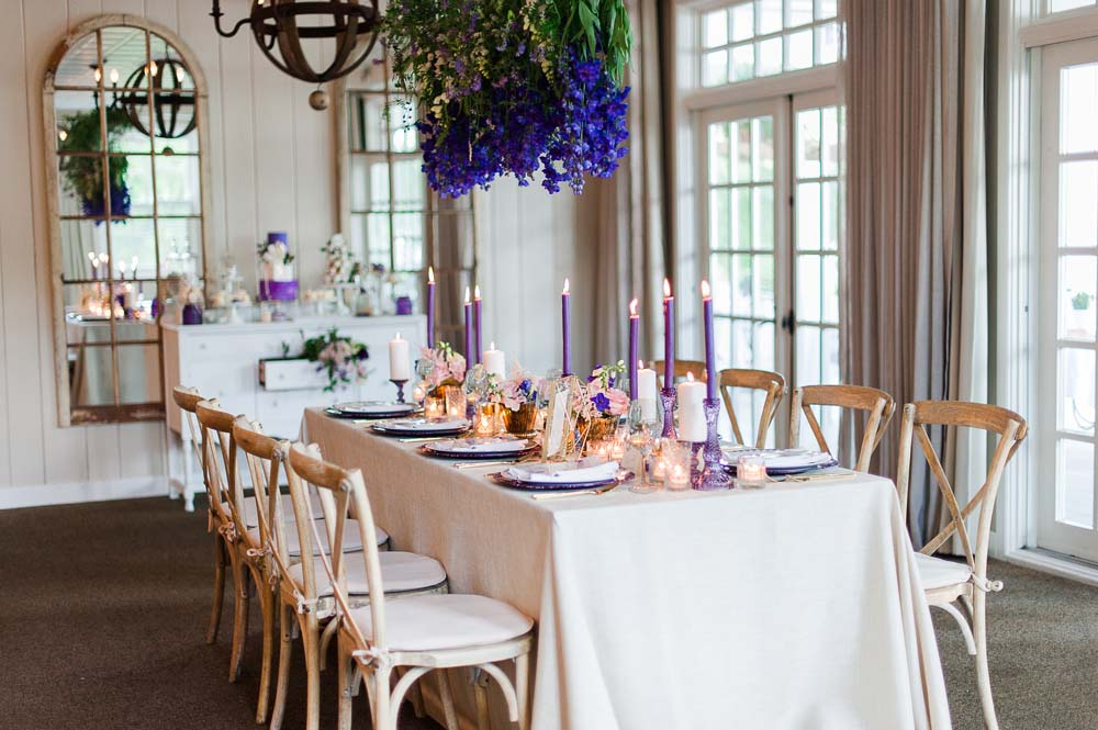An Ultra Violet-Inspired Styled Shoot In Quebec - Tablescape