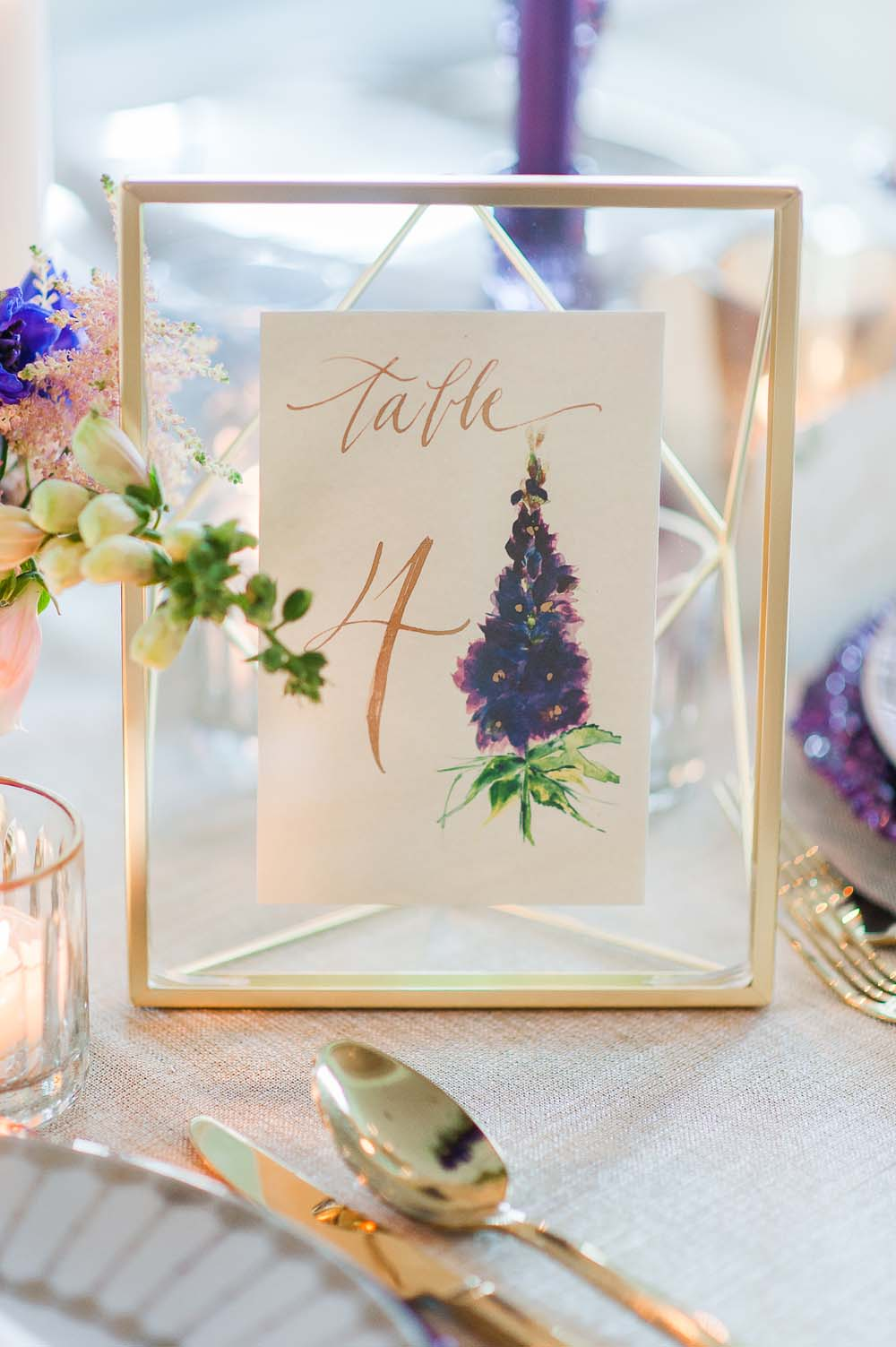 An Ultra Violet-Inspired Styled Shoot In Quebec - Table number