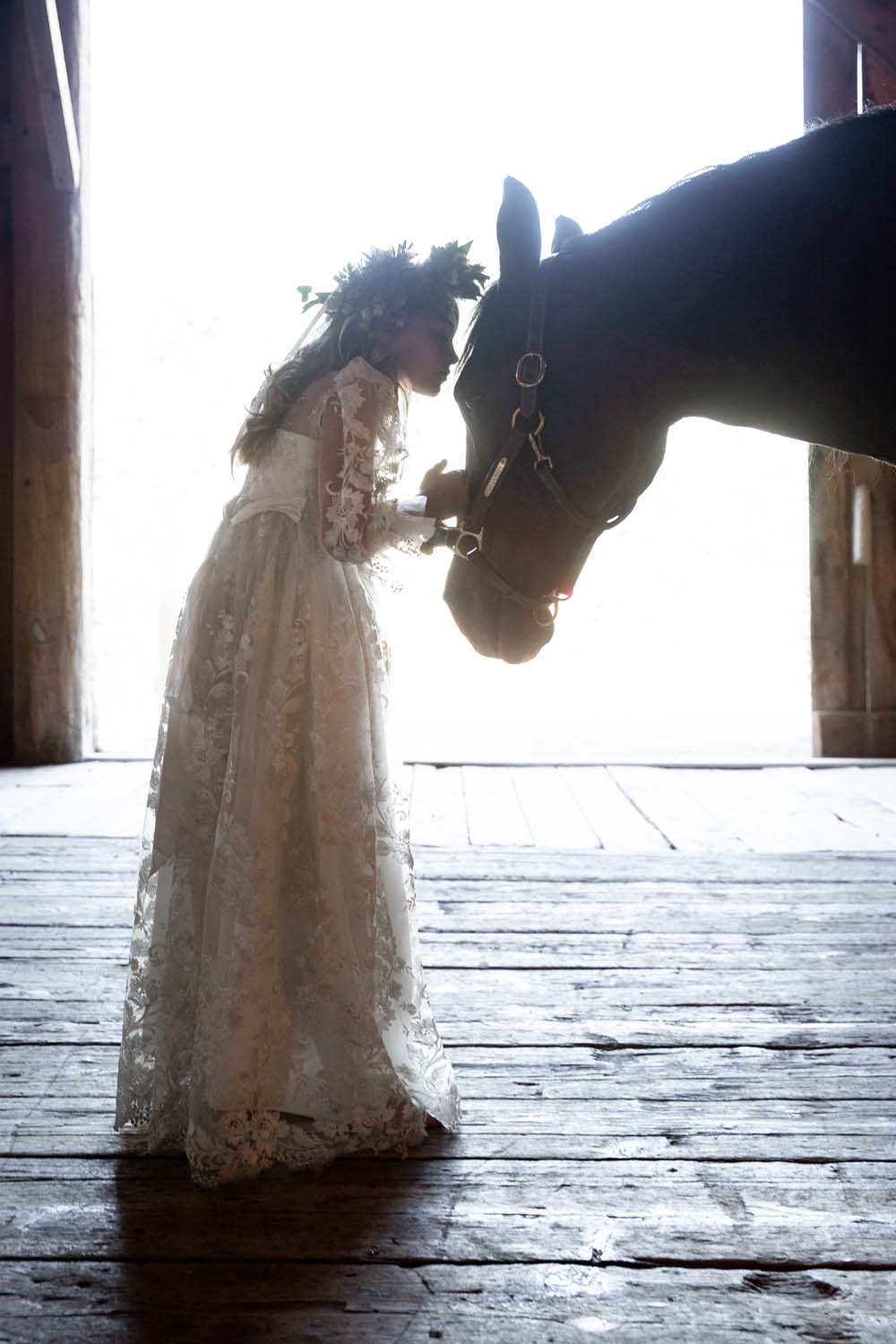 This Styled Shoot Was Inspired By Medieval Royalty - Flower girl and horse
