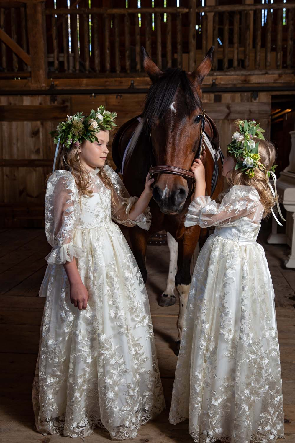 This Styled Shoot Was Inspired By Medieval Royalty - Flower girls and horse