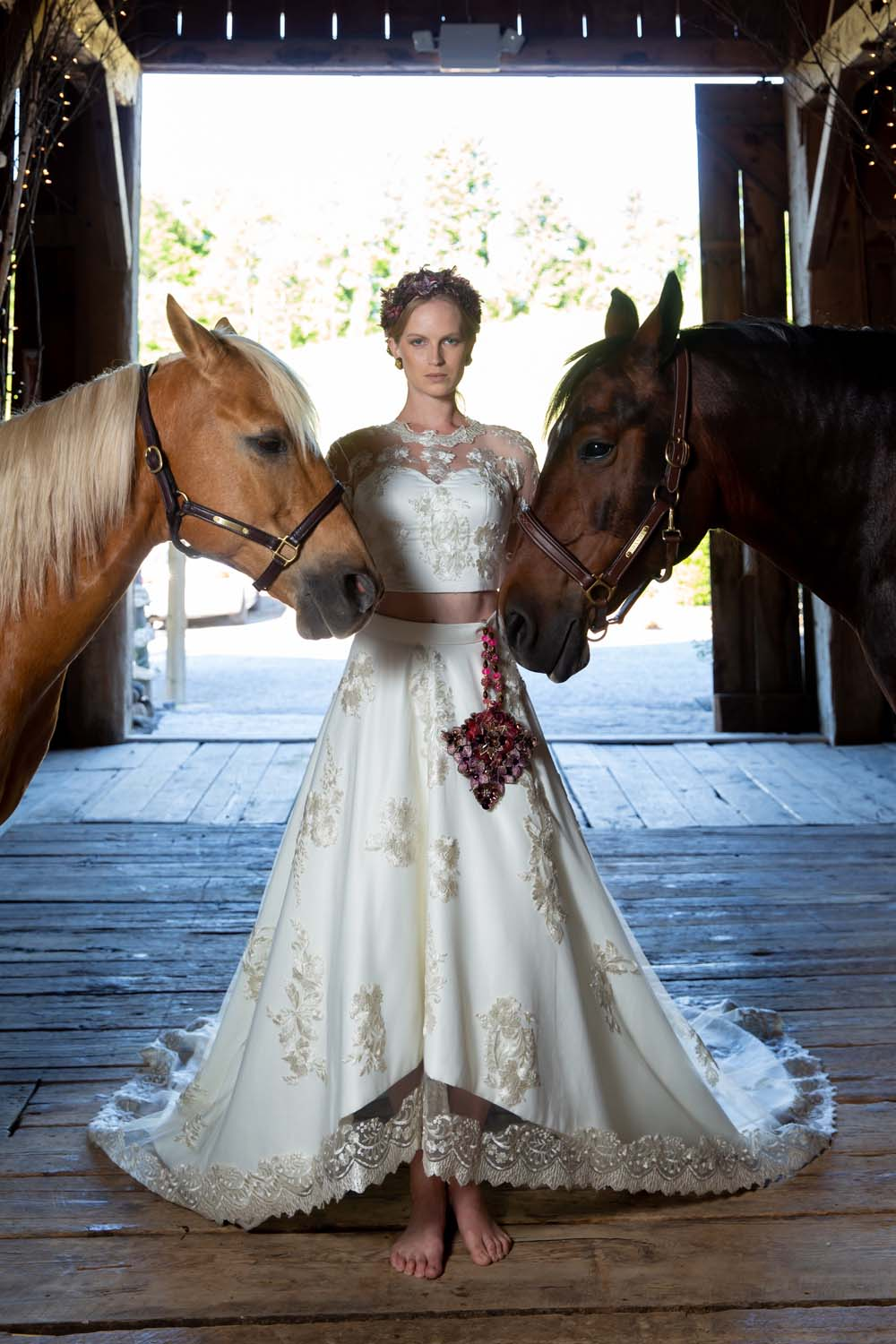 This Styled Shoot Was Inspired By Medieval Royalty - Bride and horses