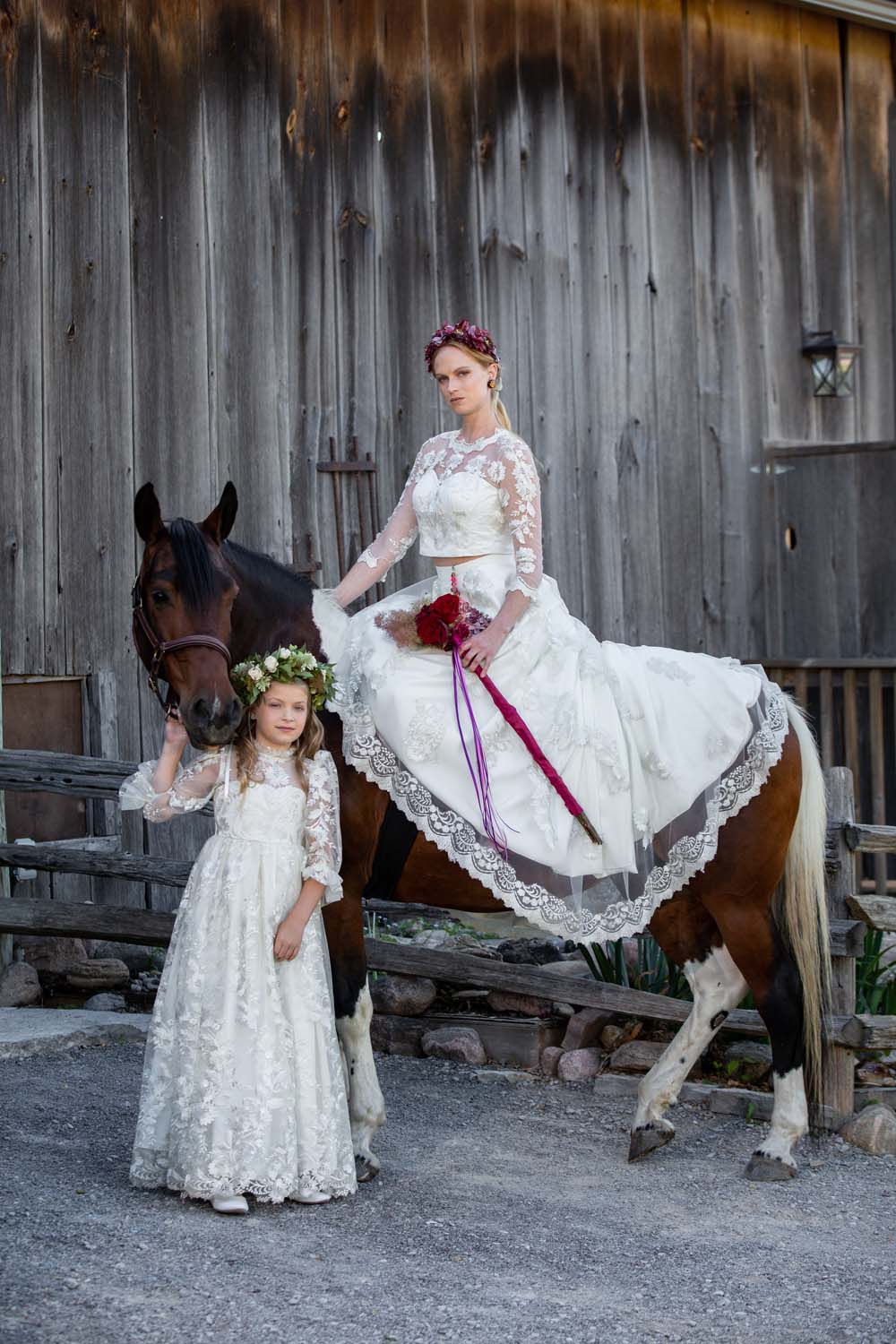 This Styled Shoot Was Inspired By Medieval Royalty - bridal party and horse