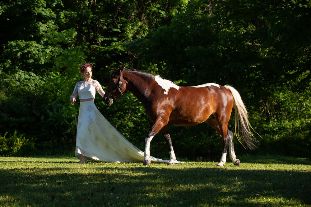 This Styled Shoot Was Inspired By Medieval Royalty - Bride and horse