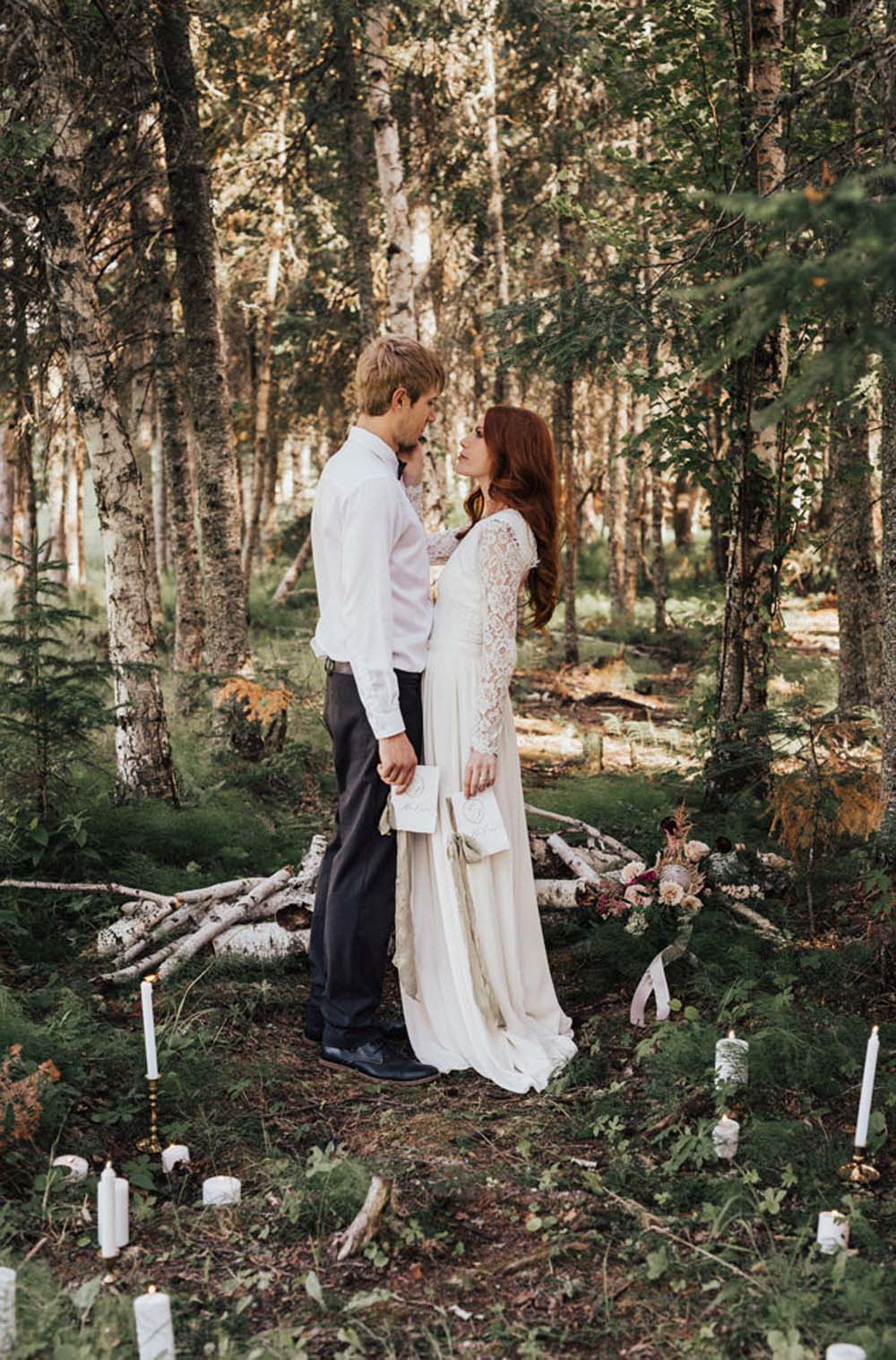 A Dreamy, Intimate Forest Styled Shoot in Waskesiu Lake, Saskatchewan - Candles