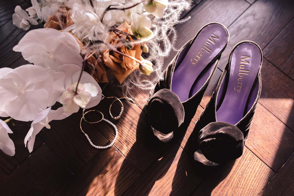 A Minimal Winter Wedding in Toronto, Ontario - Bride's Shoes, Earrings and Bouquet