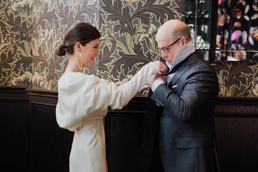 A Minimal Winter Wedding in Toronto, Ontario - Bride and Father Getting Ready
