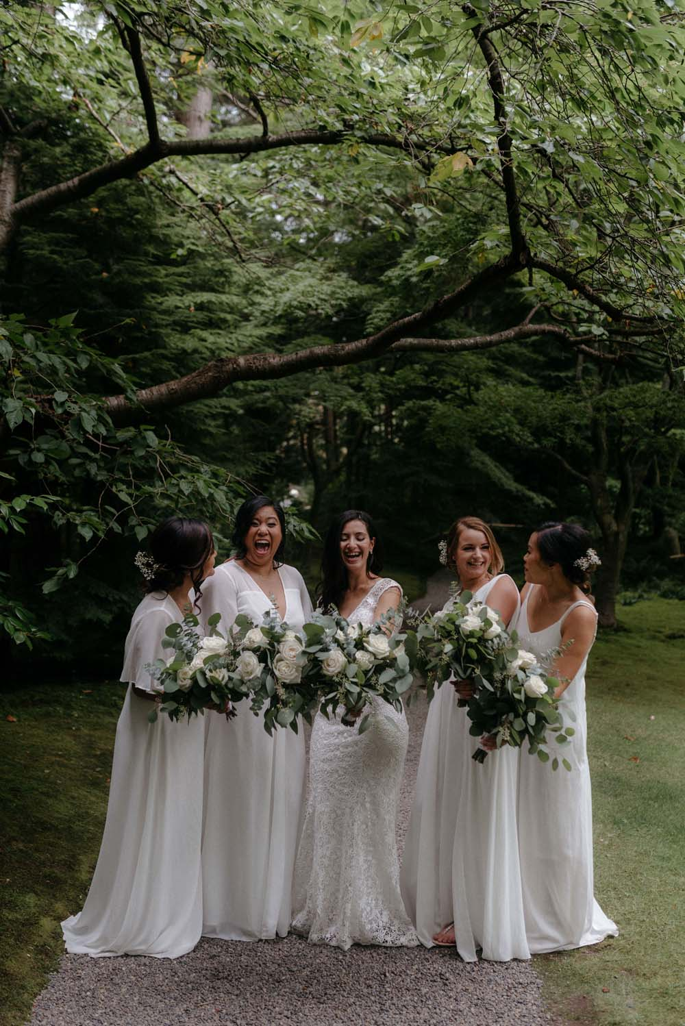 A Multicultural Wedding At The UBC Botanical Garden in Vancouver - bride and bridesmaids