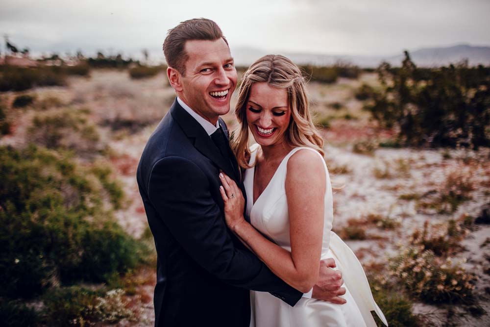 A Surprise Backyard-Style Wedding in Palm Springs, California - Bride and Groom