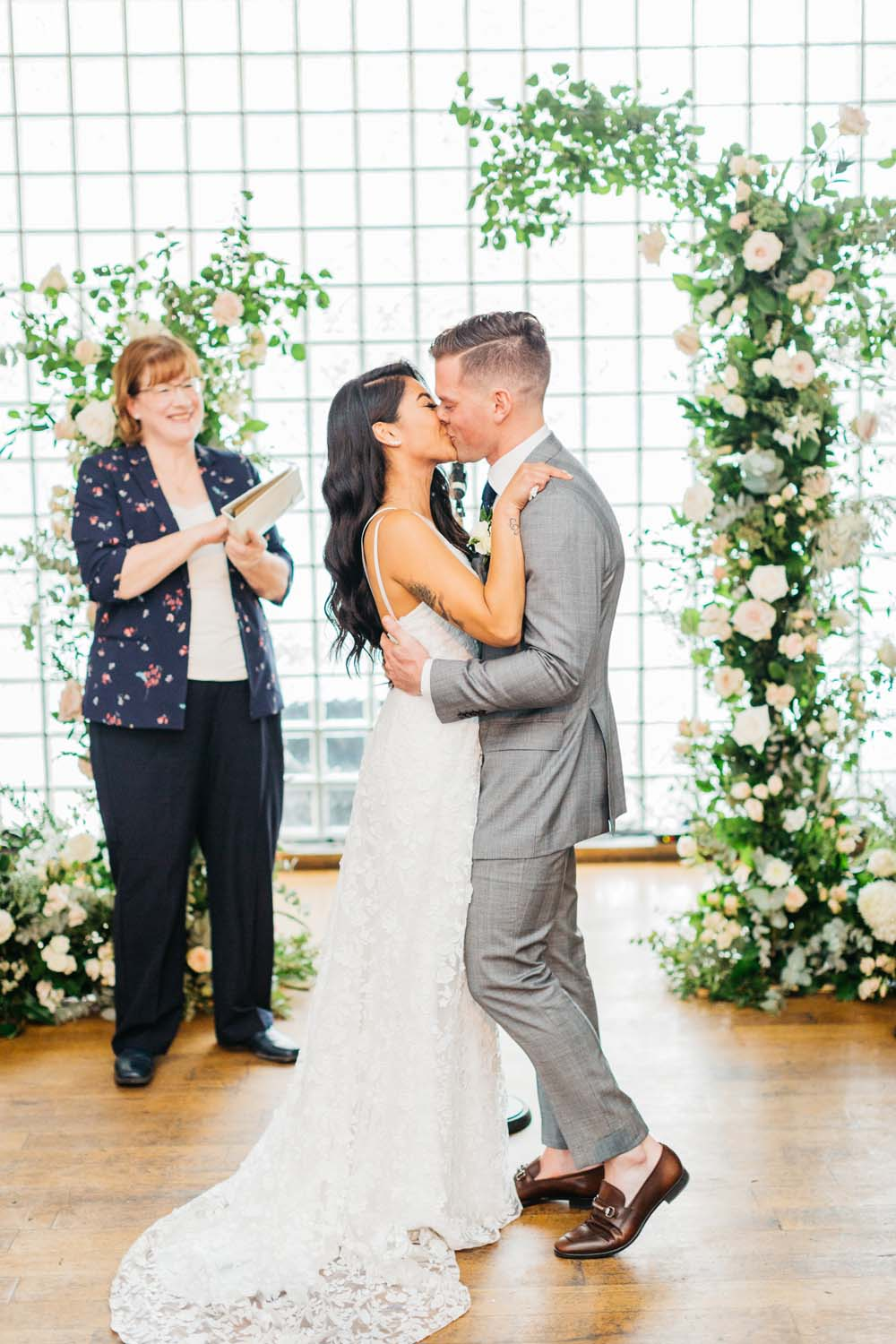 A Bright and Airy September Wedding in Toronto, Ontario - First Kiss